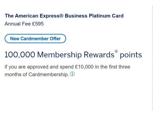 100000 Points Amex Platinum Business Card